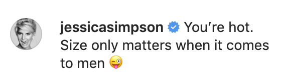 Jessica Simpson responded to Amy Schumer's post about baby weight loss. (Screenshot: Amy Schumer via Instagram)