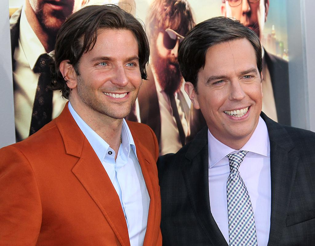 "WESTWOOD, CA - MAY 20:  Actors Bradley Cooper (L) and Ed Helms attend the premiere of Warner Bros. Pictures' ""Hangover Part III"" at the Westwood Village Theater on May 20, 2013 in Westwood, California.  (Photo by David Livingston/Getty Images)"