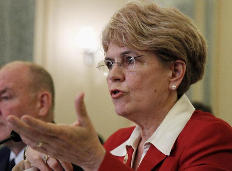 FILE - This May 18, 2010 file photo shows National Oceanic and Atmospheric Administration (NOAA) Administrator Jane Lubchenco testifying on Capitol Hill in Washington. The White House says tackling climate change and enhancing energy security will be among President Barack Obama's top priorities in his second term. Obama will have to do that work with new heads of the agencies responsible for the environment. Interior Secretary Ken Salazar, Environmental Protection chief Lisa Jackson and Jane Lubchenco, head of the National Oceanic and Atmospheric Administration, all have announced they are leaving. Energy Secretary Steven Chu is expected to follow his colleagues out the door in coming weeks. (AP Photo/Manuel Balce Ceneta, File)