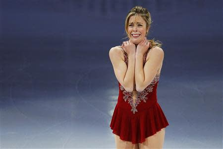 Fourth place finisher Ashley Wagner reacts after skating during an exhibition event at the conclusion of the U.S. Figure Skating Championships in Boston, Massachusetts January 12, 2014. REUTERS/Brian Snyder