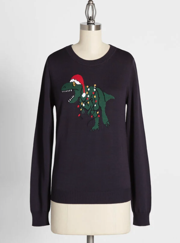 Santa-saurus Is Coming to Town Graphic Pullover Sweater. Image via Modcloth.