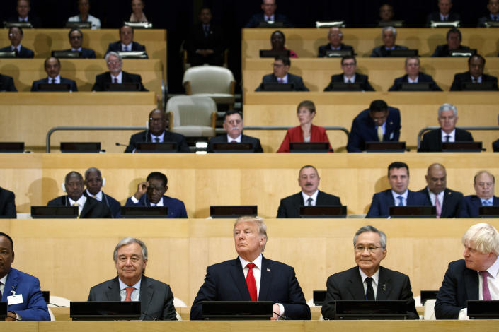 """<p>President Donald Trump participates in a photo before the beginning of the """"Reforming the United Nations: Management, Security, and Development"""" meeting during the United Nations General Assembly, Monday, Sept. 18, 2017, in New York. (Photo: Evan Vucci/AP) </p>"""