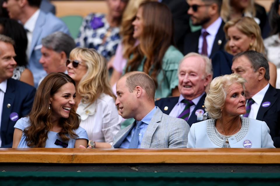 LONDON, ENGLAND - JULY 14: Catherine, Duchess of Cambridge and Prince William, Duke of Cambridge attend the Royal Box prior to the Men's Singles final between Novak Djokovic of Serbia and Roger Federer of Switzerland during Day thirteen of The Championships - Wimbledon 2019 at All England Lawn Tennis and Croquet Club on July 14, 2019 in London, England. (Photo by Laurence Griffiths/Getty Images)