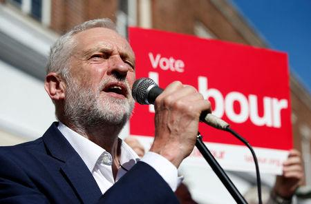 Jeremy Corbyn, the leader of Britain's opposition Labour Party, speaks to the public during an election campaign visit in the centre of Crewe