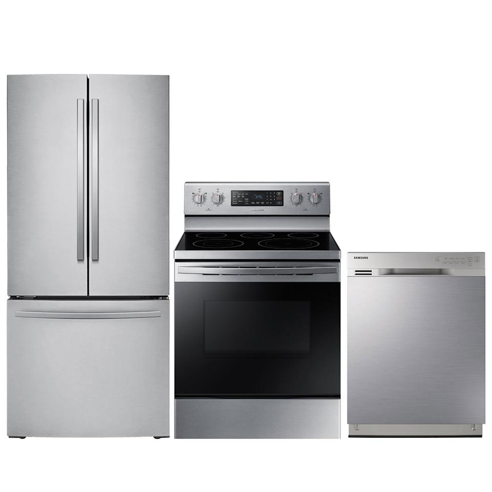 Samsung French Door Refrigerator; Electric Range; Dishwasher Package. Image via Best Buy.