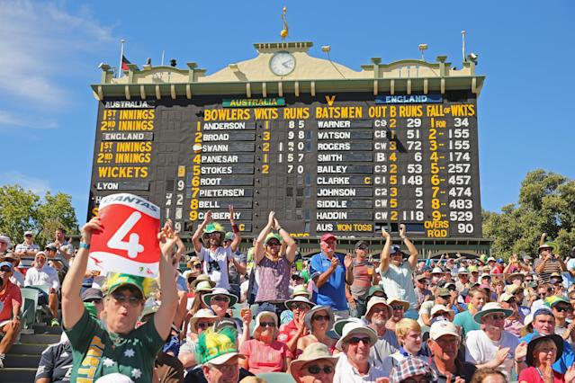 ADELAIDE, AUSTRALIA - DECEMBER 06: A general view of the scoreboard as Australia bats during day two of the Second Ashes Test Match between Australia and England at Adelaide Oval on December 6, 2013 in Adelaide, Australia. (Photo by Scott Barbour/Getty Images)