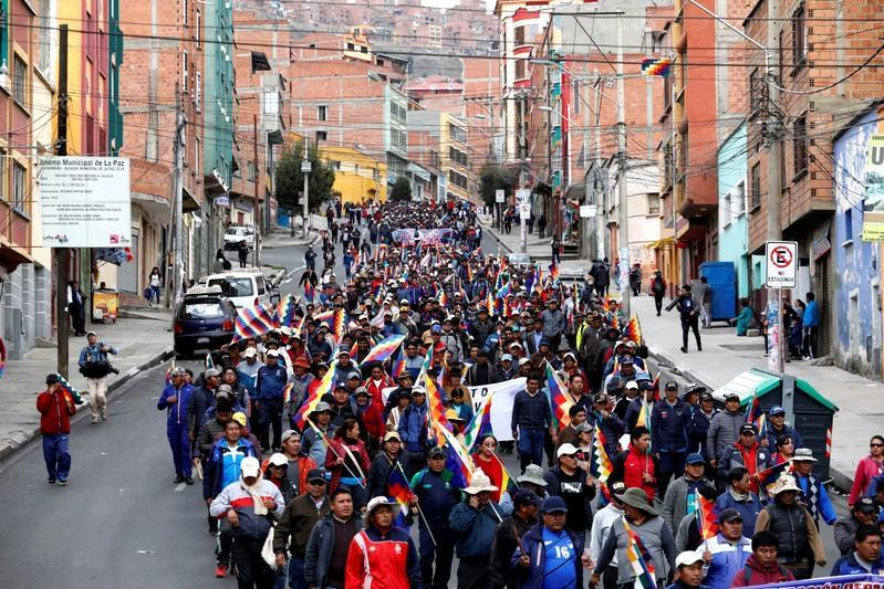 Supporters of former Bolivian President Evo Morales take part in a protest, in La Paz