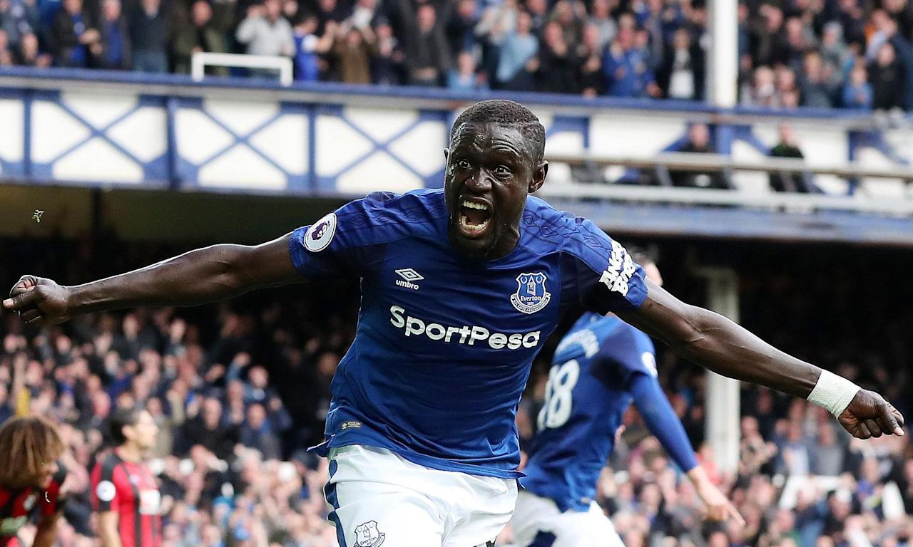 Oumar Niasse celebrates scoring Everton's second goal in the 2-1 win over Bournemouth at Goodison Park.