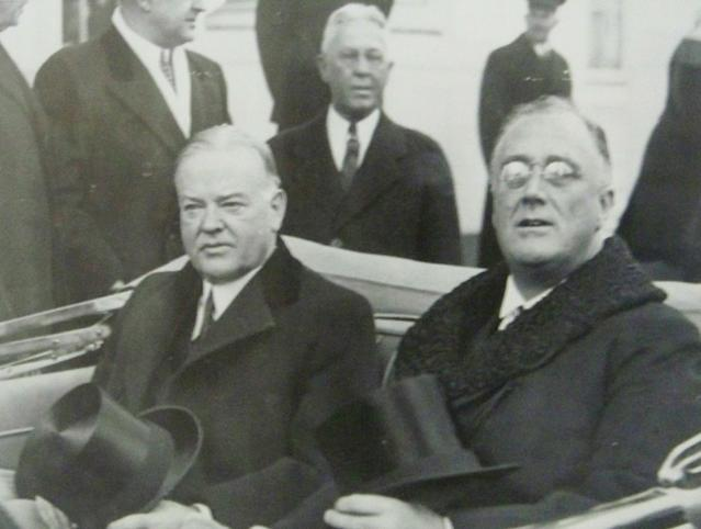 """This March 4, 1933 photo provided by the New-York Historical Society courtesy of the Franklin D. Roosevelt Presidential Library and Museum, Hyde Park, New York shows President-elect Franklin D. Roosevelt going to his Inauguration with the outgoing President Herbert Hoover as they share a tense ride to the Capitol in Washington, D.C. The picture is part of a new exhibit at the New-York Historical Society, titled """"A New President Takes Command: FDR's First Hundred Days."""" (AP Photo/Franklin D. Roosevelt Presidential Library and Museum)**NO SALES**"""