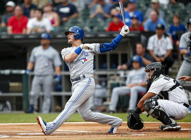 The Blue Jays' Josh Donaldson hits a home run during the first inning against the White Sox on Tuesday. (Getty Images)