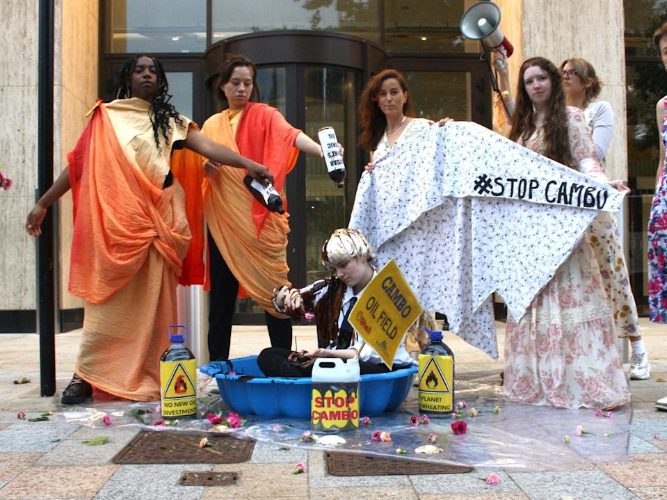 Climate activists protest against the Cambo oil field outside Shell HQ (Ella Milburn)