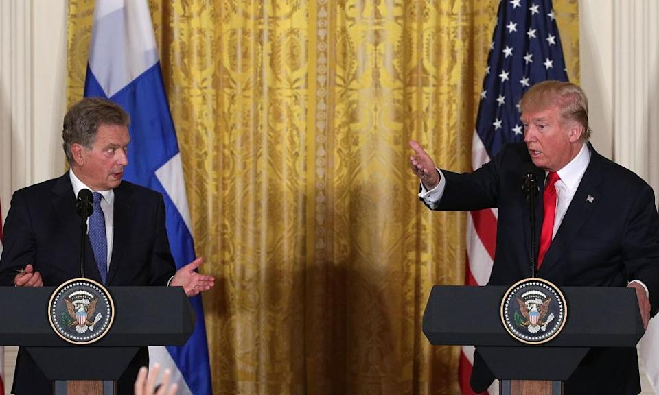 Donald Trump said of OAN during a joint press conference with President Sauli Niinisto of Finland: 'It's a great network.'
