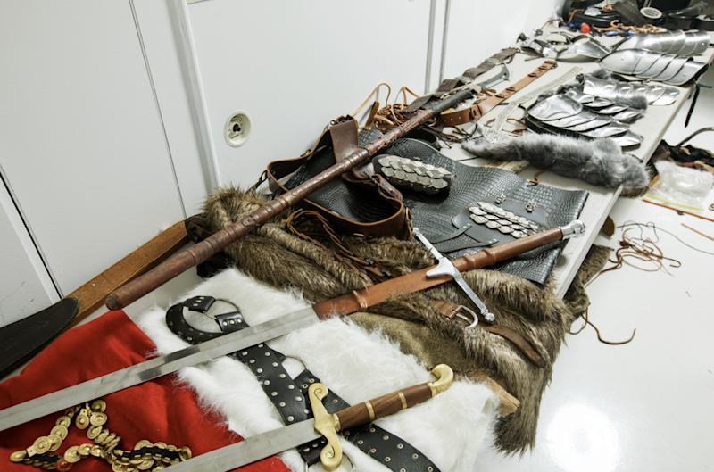 The furs, leather garments, swords, and more that Claudio Marinesco bought on Etsy to bring the shoot to life