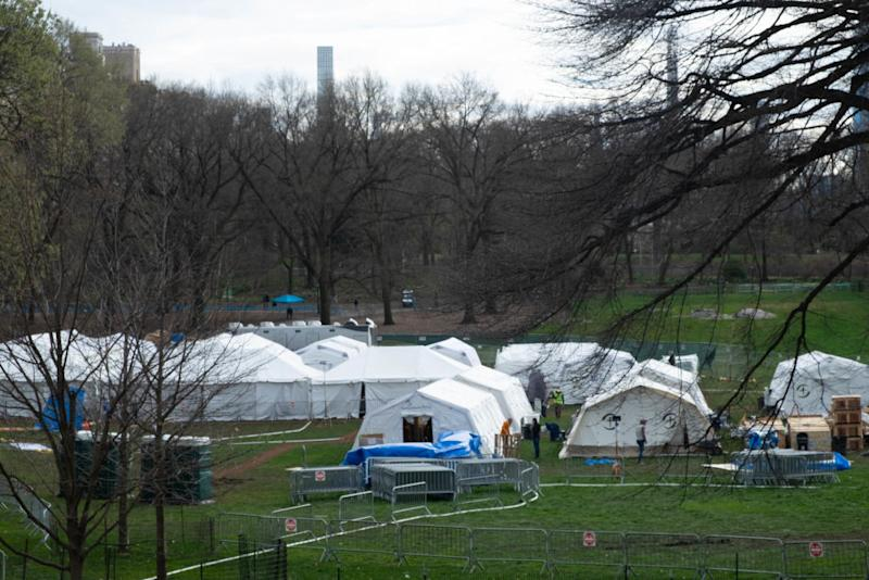 A temporary hospital set up in New York's Central Park. Source: Getty
