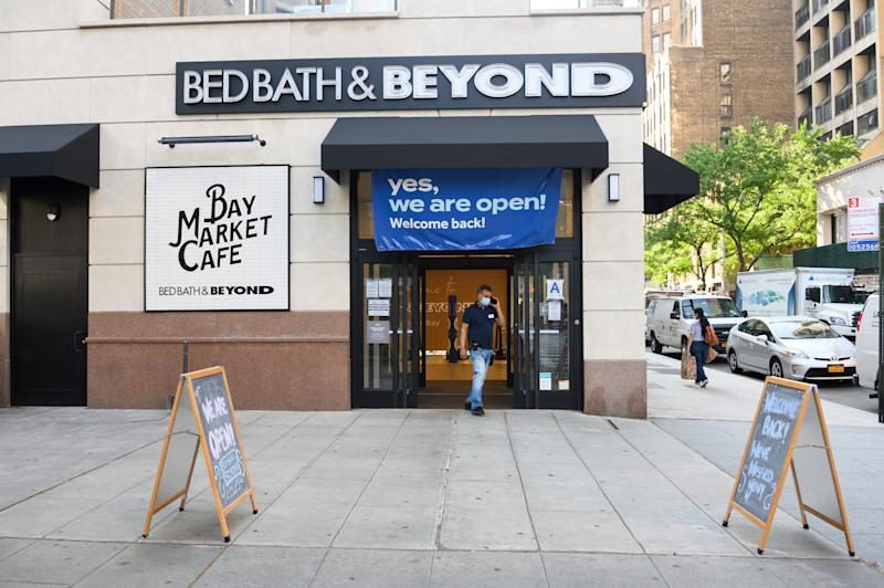 NEW YORK, NEW YORK - JUNE 23: A person leaves Bed Bath & Beyond in Kips Bay as the city moves into Phase 2 of re-opening following restrictions imposed to curb the coronavirus pandemic on June 23, 2020 in New York City. Phase 2 permits the reopening of offices, in-store retail, outdoor dining, barbers and beauty parlors and numerous other businesses. Phase 2 is the second of four-phased stages designated by the state. (Photo by Noam Galai/Getty Images)