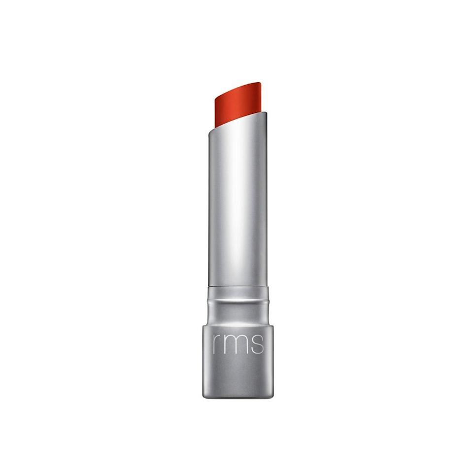 """<p>Ingeborg swears by the Best of Beauty-winning RMS Beauty Wild With Desire Lipstick in RMS Red for medium complexions. Paired with a bronzed glow, she says it helps illuminate the whole face.</p> <p><strong>$28 (</strong><a href=""""https://shop-links.co/1645744128565071897"""" rel=""""nofollow noopener"""" target=""""_blank"""" data-ylk=""""slk:Shop Now"""" class=""""link rapid-noclick-resp""""><strong>Shop Now</strong></a><strong>)</strong></p>"""