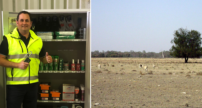 Right - Jason Smith wearing a high-vis jacket in front off an open cupboard. He his his thumb up. Right - a drought affected paddock in Narrabri.
