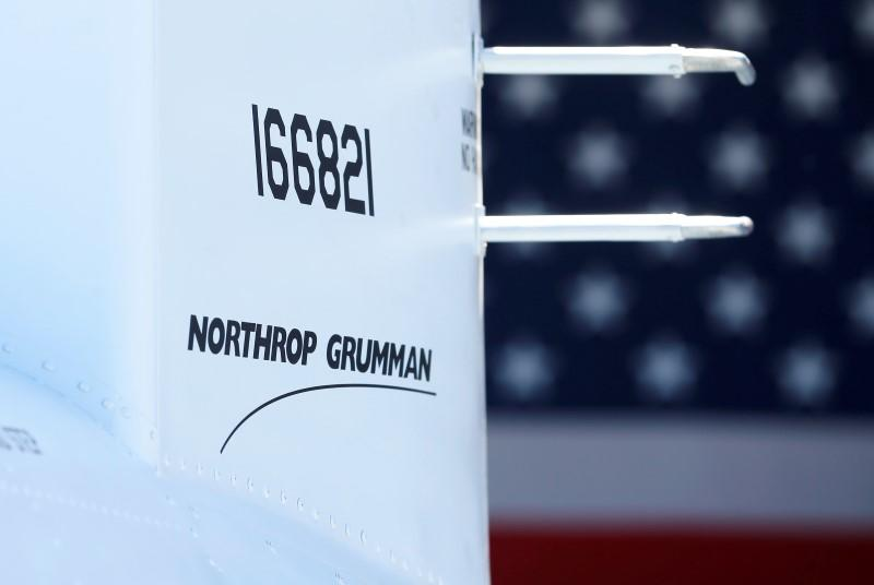 The corporate logo of Northrop Grumman is shown on a Fire Scout MQ-8 B unmanned helicopter in California