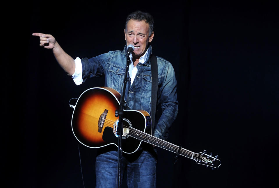 "FILE - In this Nov. 5, 2018, file photo, Bruce Springsteen performs at the 12th annual Stand Up For Heroes benefit concert at the Hulu Theater at Madison Square Garden in New York. In 2016, Springsteen objected to Presidential candidate Donald Trump blasting ""Born in the U.S.A."" as a patriotic anthem, when it's actually a scathing indictment of the treatment of Vietnam vets. (Photo by Brad Barket/Invision/AP, File)"
