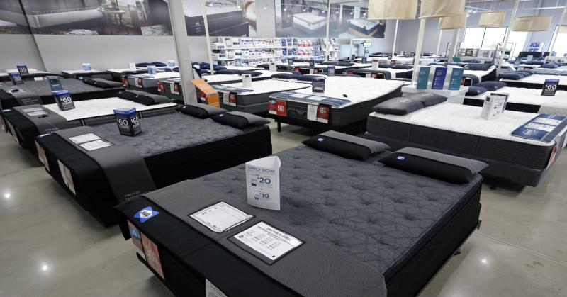 Mattress display at new Sears Home & Life store featuring top brands including Tempur-Pedic, Beautyrest, Sealy, Serta, Simmons and Stearns & Foster (only available in Overland Park and Lafayette).