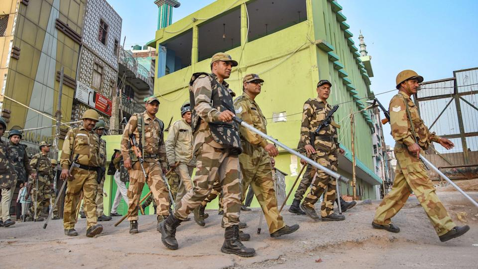 """<div class=""""paragraphs""""><p>Security personnel patrol at Chand Bagh, one of the riot affected areas, in northeast Delhi taken in the aftermath of the violence.</p></div>"""