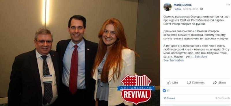 Butina and Torshin seen with Wisconsin Gov. Scott Walker (R), center, at a campaign event in 2015. (Facebook)
