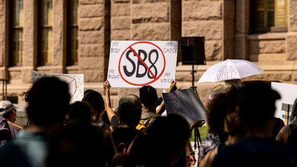 PHOTO: Abortion rights activists rally at the Texas State Capitol on Sept. 11, 2021, in Austin, Texas. (Jordan Vonderhaar/Getty Images)