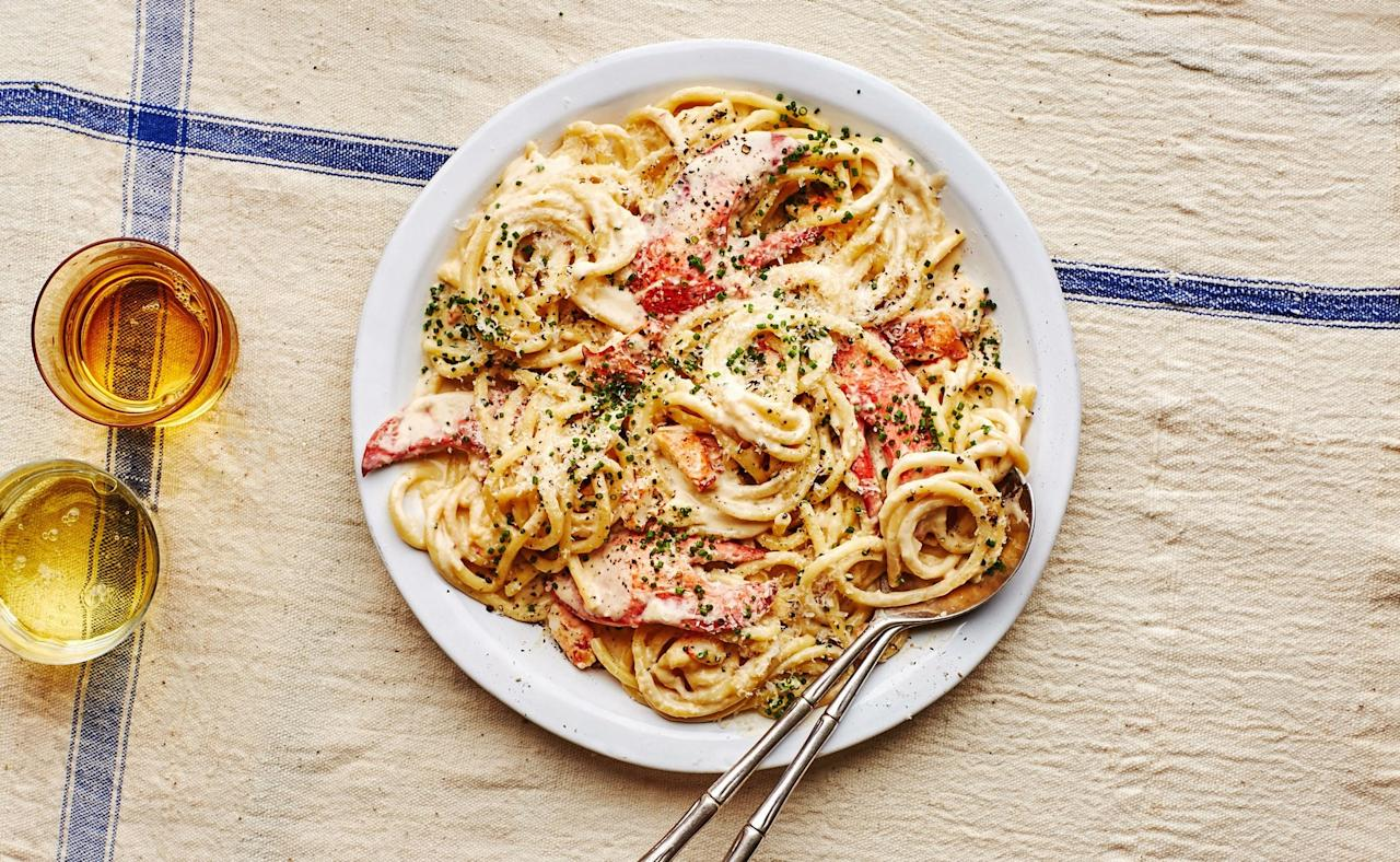 """This recipe is no small amount of work, so be sure to make it for the people you really, really like. The pro move is to break up the process over two days—that means cooking the lobsters, picking the meat, and infusing the cream on the first day, which leaves cooking the pasta and heating everything back up to serve on the second. And no, you can't just buy already picked lobster meat; you need the shells to infuse the sauce with tons of flavor. You can, however, ask your fishmonger to steam the lobsters for you, which many will do for free if you ask. No judgie. <a href=""""https://www.bonappetit.com/recipe/lobster-pasta?mbid=synd_yahoo_rss"""">See recipe.</a>"""