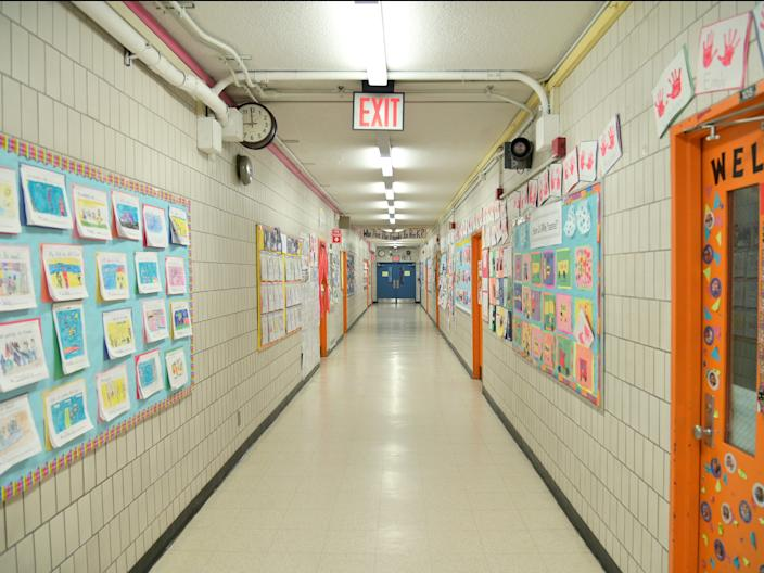 Many schools in New York City are housed in old buildings with narrow hallways.