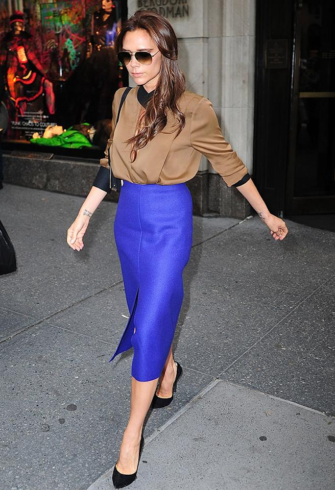 NEW YORK, NY - MAY 09: Victoria Beckham is seen leaving Bergdorf Goodman  on May 9, 2013 in New York City. (Photo by Alo Ceballos/FilmMagic)