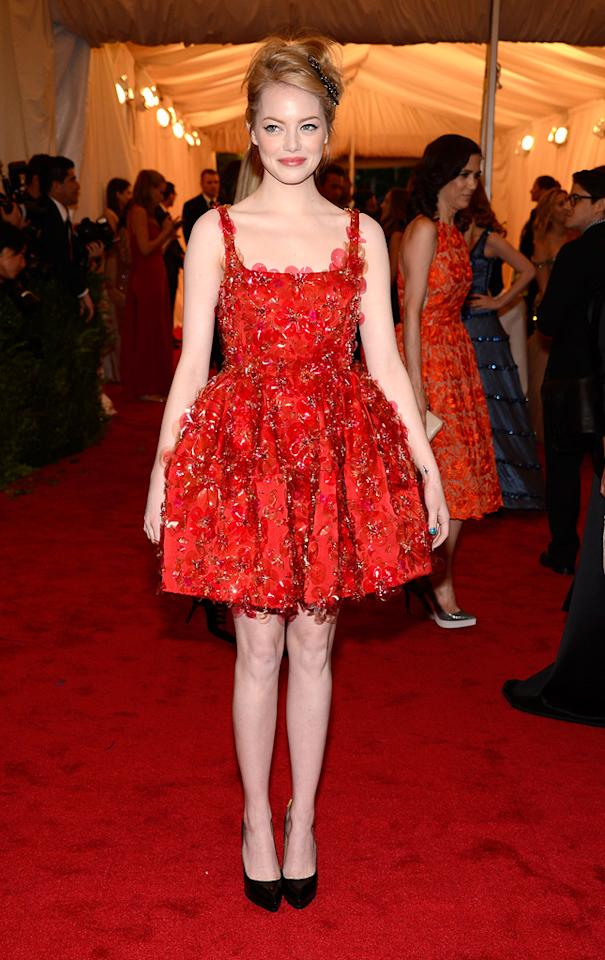 Emma Stone attends the 2012 Costume Institue Gala at the Metropolitan Museum of Art in New York City, NY on May 8, 2012.