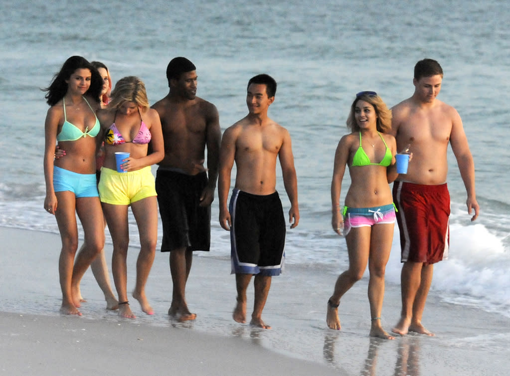 """March 13, 2012: Selena Gomez, Ashley Benson, Rachel Korine and Vanessa Hudgens seen playing in the surf at the beach during the filming of """"Spring Breakers"""" in St. Petersburg, Florida.  Mandatory Credit: INFphoto.com Ref: infusmi-13"""