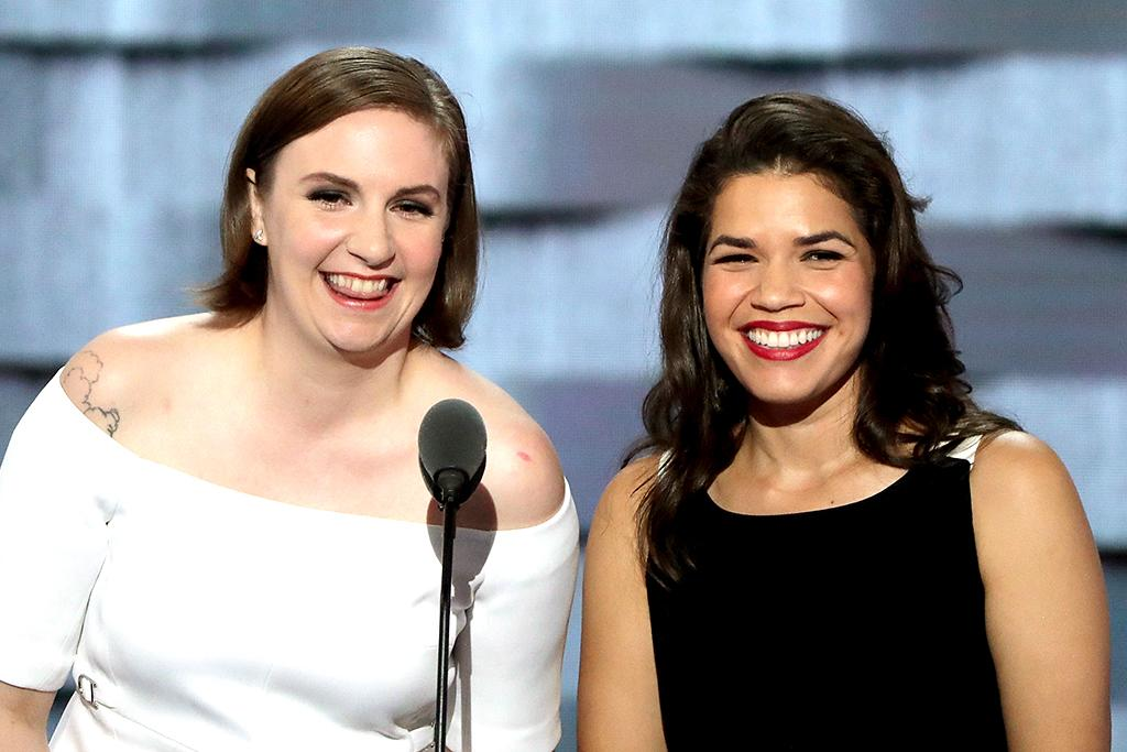 Lena Dunham, left, and America Ferrera speak at the DNC Tuesday night. (Photo: Alex Wong/Getty Images)