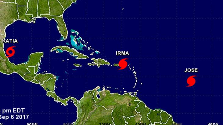 Three active hurricanes at once: Katia forms in the Gulf