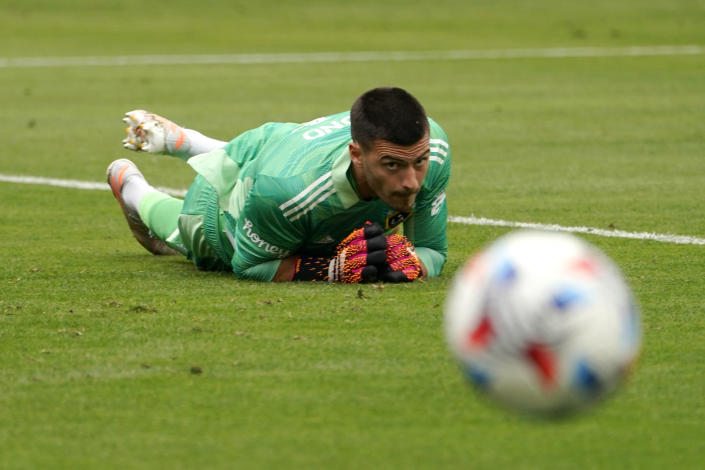 Los Angeles Galaxy goalkeeper Jonathan Bond watches a shot go wide during the first half of a Major League Soccer match against Austin FC Saturday, May 15, 2021, in Carson, Calif. (AP Photo/Mark J. Terrill)
