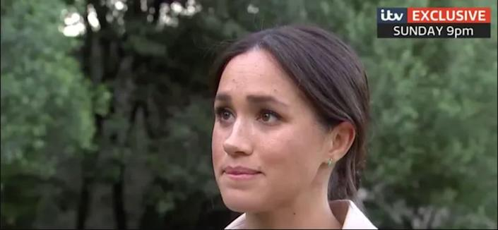 The Duchess of Sussex appears close to tears in the upcoming interview, which airs this Sunday on ITV.  (Photo: ITV)