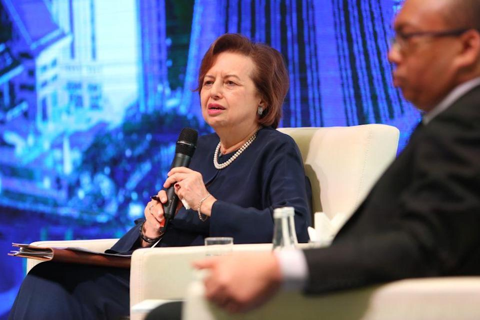 Tan Sri Dr Zeti Aziz speaks during a media briefing on PNB Group's Financial Year 2018 performance at the Hilton Kuala Lumpur, March 28, 2019. — Picture by Choo Choy May
