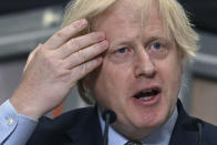 Britain's Prime Minister Boris Johnson delivers a speech during a visit to Dudley College of Technology in Dudley, England, Tuesday June 30, 2020. Johnson promised an infrastructure investment plan to help the U.K. fix the economic devastation caused by the pandemic. (Paul Ellis/Pool Photo via AP)