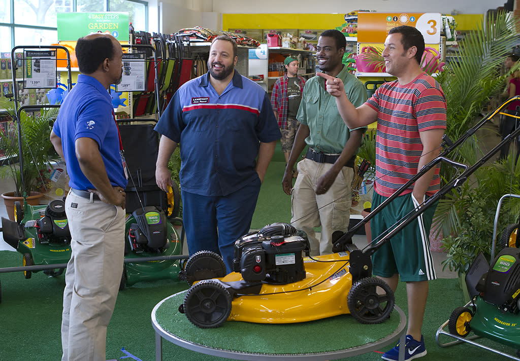 Malcolm (Tim Meadows), Eric Lamonsoff (Kevin James), Kurt McKenzi (Chris Rock), and Lenny Feder (Adam Sandler) at Kmart in Columbia Pictures' GROWN UPS 2.