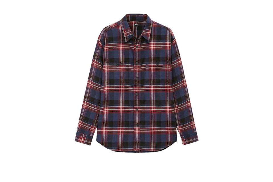 "$30, Uniqlo. <a href=""https://www.uniqlo.com/us/en/men-flannel-checked-long-sleeve-shirt-431482.html?dwvar_431482_color=COL37&cgid=men-weekly-promotions-shirts#start=1&cgid=men-weekly-promotions-shirts"" rel=""nofollow noopener"" target=""_blank"" data-ylk=""slk:Get it now!"" class=""link rapid-noclick-resp"">Get it now!</a>"