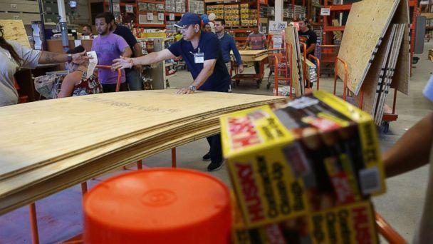 PHOTO: People purchase plywood at The Home Depot as they prepare for Hurricane Irma, Sept. 6, 2017, in Miami. (Joe Raedle/Getty Images)