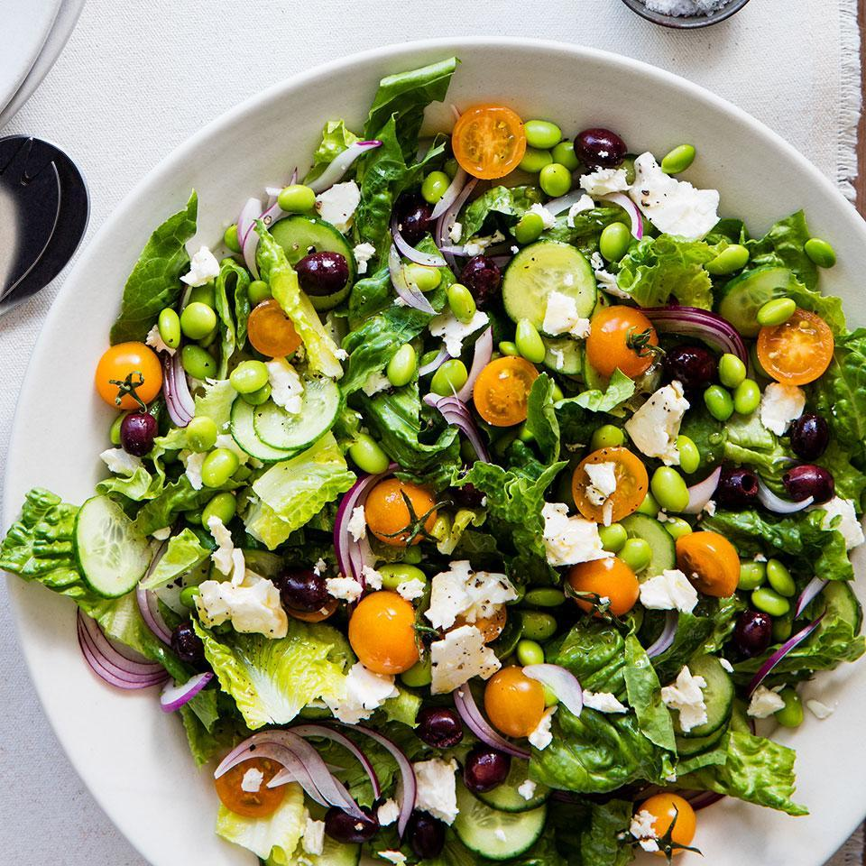 <p>Edamame adds protein to the classic Greek salad: romaine, tomatoes, cucumber, feta and olives. Serve with toasted pita brushed with olive oil and sprinkled with dried oregano or za'atar.</p>