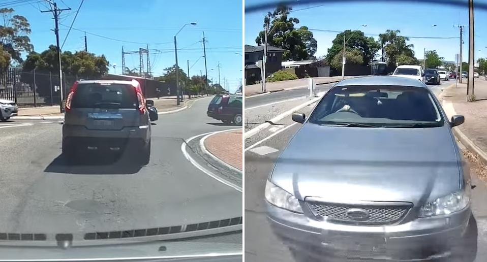 A car enters a roundabout in Adelaide as the car in front of him stops for a hearse to pass through. He's then rear-ended by a Ford Falcon.