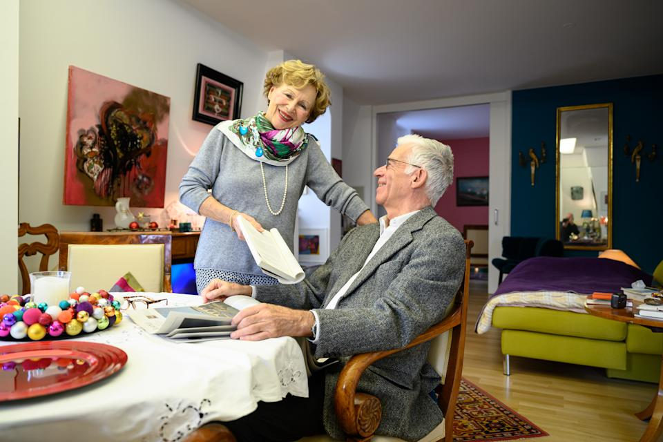 """12 December 2019, Baden-Wuerttemberg, Konstanz Am Bodensee: Heiko Freiherr von Soden and his wife Helga Freifrau von Soden are chatting in their apartment in the Tertianum Premium Residences in downtown Constance. (to dpa: """"Senior Residences"""") Photo: Felix Kästle/dpa (Photo by Felix Kästle/picture alliance via Getty Images)"""