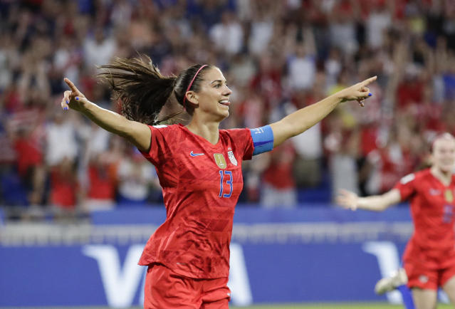 United States' Alex Morgan celebrates her side's winning goal. (AP Photo/Alessandra Tarantino)