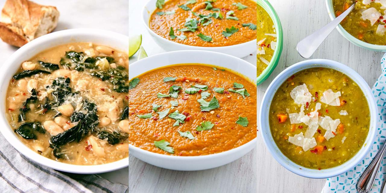 """<p>There's nothing better than a delicious soup for lunch. It's the kind of lunchtime meal you'll wake up looking forward to, am I right? So, if you're after something like a classic <a href=""""https://www.delish.com/uk/cooking/recipes/a28794488/carrot-and-coriander-soup-recipe/"""" target=""""_blank"""">Carrot & Coriander Soup</a>, or a hearty <a href=""""https://www.delish.com/uk/cooking/recipes/a32183592/quinoa-soup/"""" target=""""_blank"""">Quinoa Vegetable Soup</a>, we've got over 25 soup recipes for you to choose from. Looking for some healthier versions? We've got a bunch of <a href=""""https://www.delish.com/uk/cooking/recipes/g29869350/healthy-soup-recipes/"""" target=""""_blank"""">Healthy Soup</a> recipes, too. </p>"""