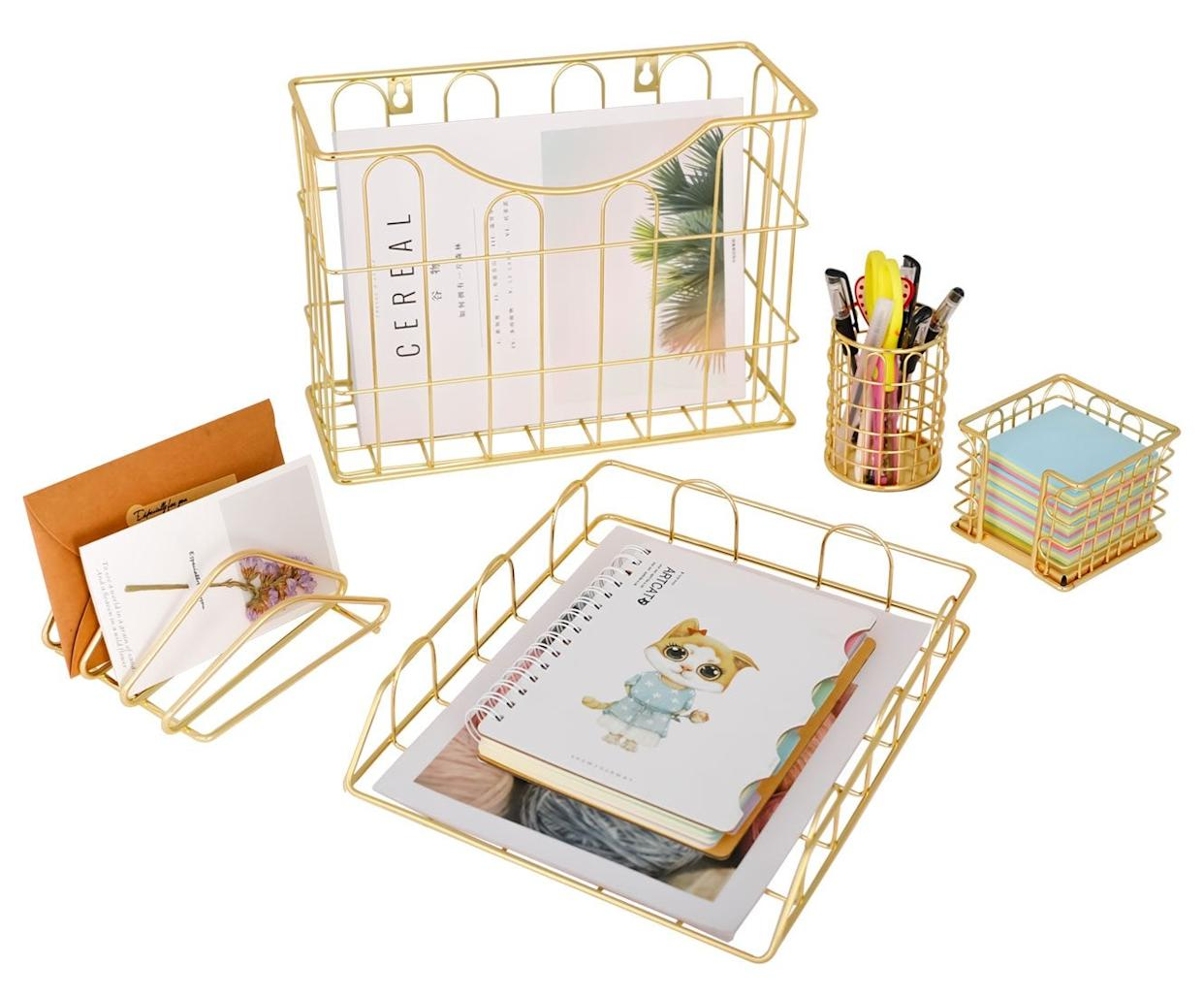 Superbpag Office 5 in 1 Desk Organizer Set