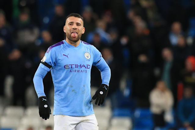 Nicolas Otamendi is a capable center back, but he's not able to cover up City's problems in that position. (Photo by LINDSEY PARNABY/AFP via Getty Images)