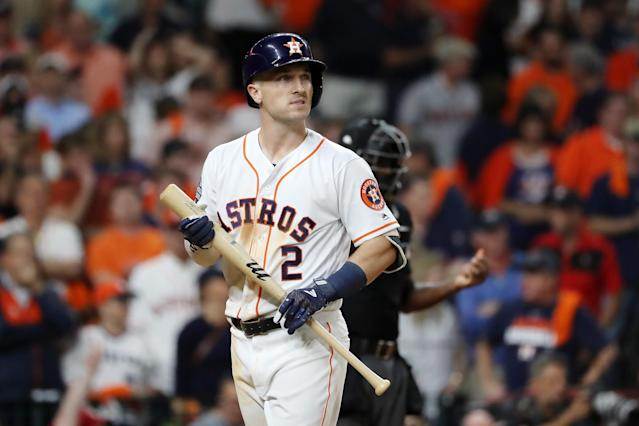 Alex Bregman struck out three times in Game 1 of the World Series. (Elsa/Getty Images)