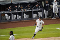 New York Yankees' DJ LeMahieu runs the bases after hitting a home run during the sixth inning of a baseball game against the Washington Nationals, Friday, May 7, 2021, in New York. (AP Photo/Frank Franklin II)